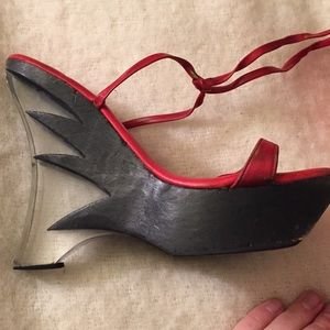 VINTAGE Retro Flame Clear Hot Rod Costume Heels